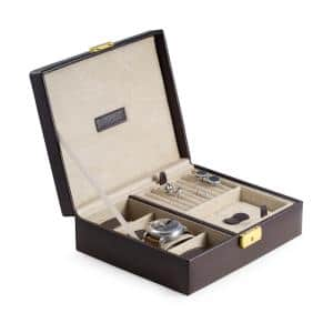 Brown Leather 4-Watch Case and Valet with Removable Tray and Locking Clasp