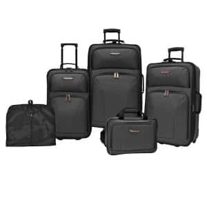 Travelers Choice Versatile 5-Piece Black Luggage Set