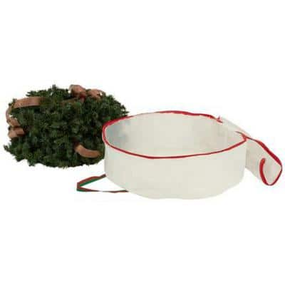 24 in. W White with Red and Green Trim, Wreath Storage Bags