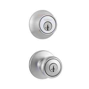 Tylo Satin Chrome Single Cylinder Door Knob Combo Pack Featuring SmartKey Security