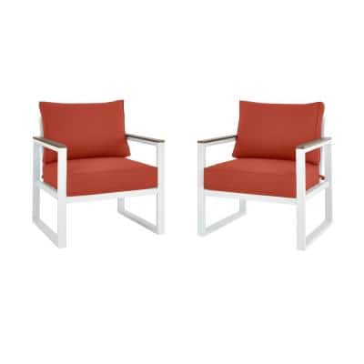 West Park White Aluminum Outdoor Patio Lounge Chair with Sunbrella Henna Red Cushions (2-Pack)