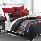 Mineola 3-Piece Navy Blue Striped Cotton Full/Queen Duvet Cover Set