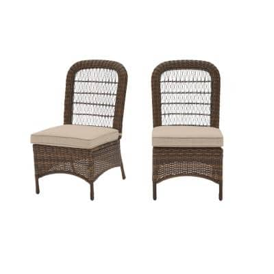 Beacon Park Brown Wicker Outdoor Patio Armless Dining Chair with CushionGuard Putty Tan Cushions (2-Pack)