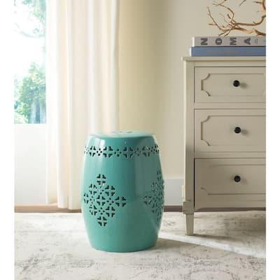 Quatrefoil Aqua Ceramic Garden Patio Stool
