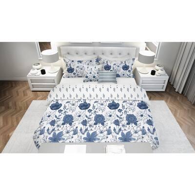 Lillie Floral Blue 5-Piece Reversible Ultra-Soft Microfiber Full/Queen Comforter Set