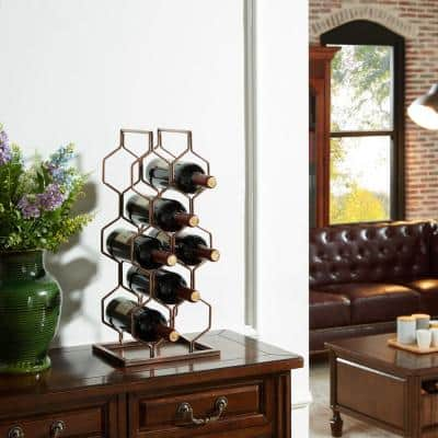 Copper Electroplated 8-Bottle Wine Rack
