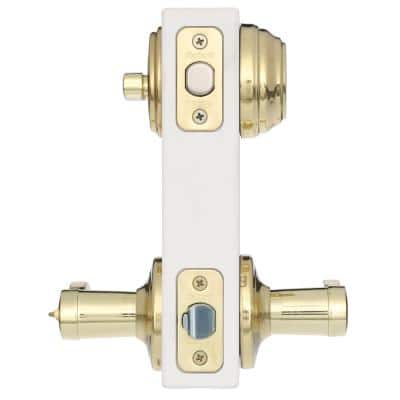 Lido Polished Brass Exterior Entry Door Lever and Single Cylinder Deadbolt Combo Pack Featuring SmartKey Security