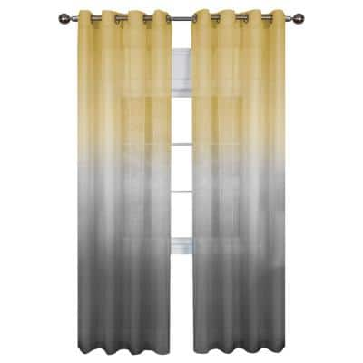 Rainbow 52 in. W x 63 in. L Polyester Light Filtering Window Panel in Grey/Yellow