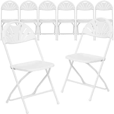 White Metal Folding Chair (Set of 8)