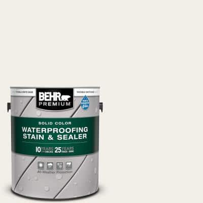 1 gal. #SC-337 Pinto White Solid Color Waterproofing Exterior Wood Stain and Sealer