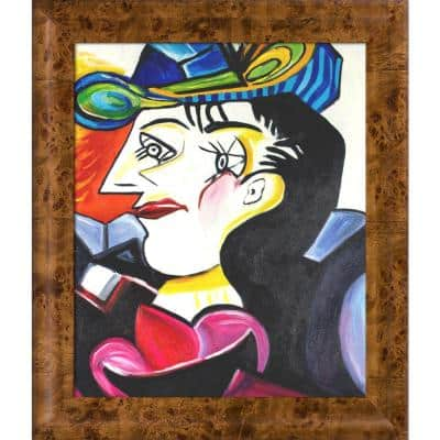 """""""Picasso by Nora, Man With Blue Hat with Havana Burl Frame"""" by Nora Shepley Canvas Print"""