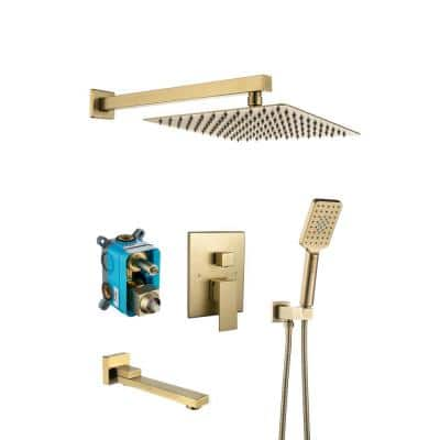 Single-Handle 3-Spray 2.5 GPM 10 in. 3 Functions Wall Mount Tub and Shower Faucet in Spot in Gold (Valve Included)