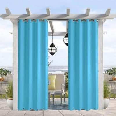 50 in W x 108 in L Water & Wind Resistant Outdoor Curtain Grommets on Top and Bottom , Aqua Blue
