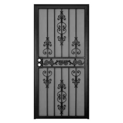 36 in. x 80 in. El Dorado Black Surface Mount Outswing Steel Security Door with Heavy-Duty Expanded Metal Screen