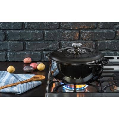 Enamelware 6 qt. Round Cast Iron Dutch Oven in Midnight with Lid