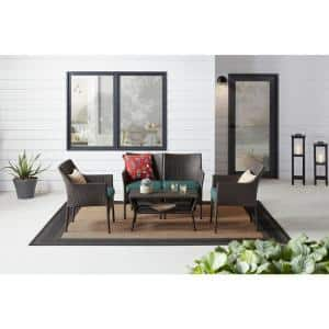 Terrace View 4-Piece Wicker Patio Conversation Seating Set with Green Cushions