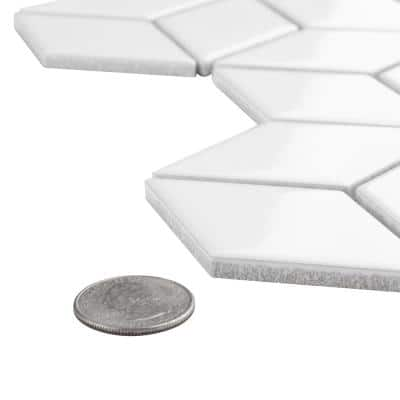 Metro Rhombus Glossy White 10-1/2 in. x 12-1/8 in. x 5 mm Porcelain Mosaic Tile (9.04 sq. ft. / case)