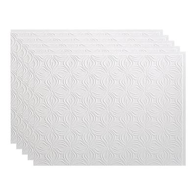 Lotus 18 in. x 24 in. Matte White Vinyl Decorative Wall Tile Backsplash 15 sq. ft. Kit