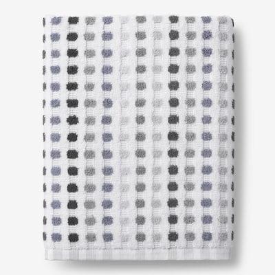 Spectrum Gray Geometric Cotton Single Bath Sheet