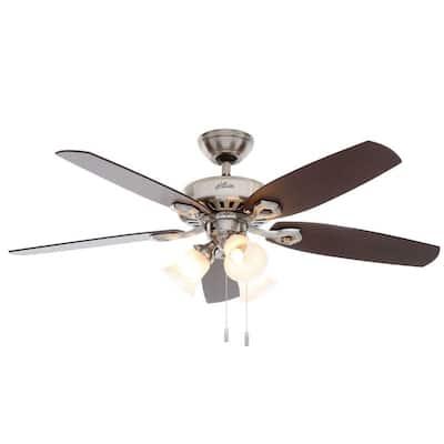 Builder Plus 52 in. Indoor 3-Light Brushed Nickel Ceiling Fan