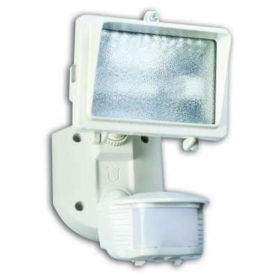 150-Watt 180-Degree White Motion Activated Outdoor Flood Light with Bulb and Single Head