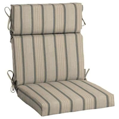 21.5 x 44 Sunbrella Cove Pebble High Back Outdoor Dining Chair Cushion