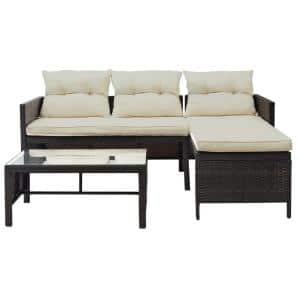 3-Piece Wicker Outdoor Sectional with Beige Cushions