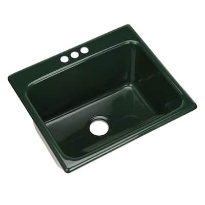 Kensington Drop-In Acrylic 25 in. 3-Hole Single Bowl Utility Sink in Timberline