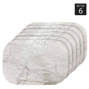 Marble Cork 12 in. x 18'' In. Grays and Silver Cork Oval Placemats Set of 6