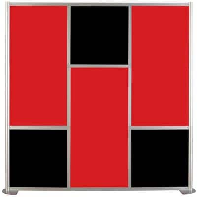 75-5/8 in. x 75-3/8 in. uDivide Room Divider Satin Clear Frame with Red and Black 6-Panels