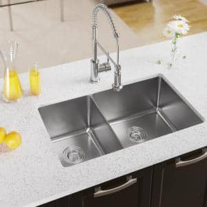 Undermount Stainless Steel 31-1/8 in. Double Bowl Kitchen Sink
