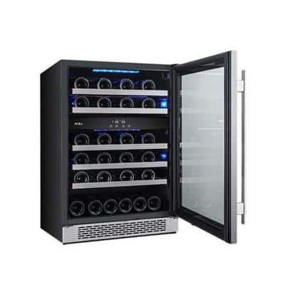 46-Bottle 24 in. Built-in Dual Zone Wine Cooler with Argon Filled Double Paned Glass