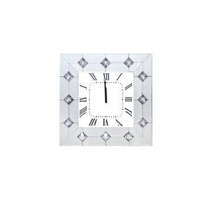 Silver and White Mirrored Square Shape Wooden Analog Wall Clock with Crystal Accents