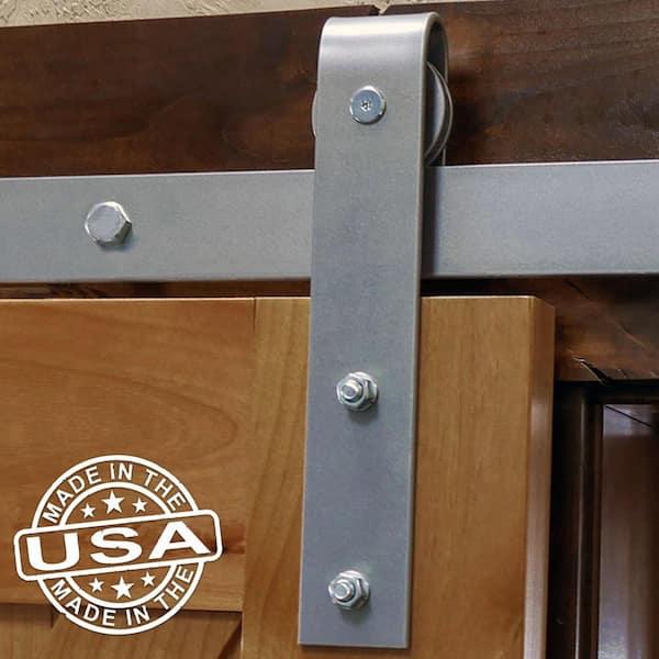 Goldberg Brothers Inc 1 5 8 In X 48 In X 13 5 8 In Steel Premium Wagon Wheel Strap Barn Door Hardware Set Moulding Blue Ribbon Gb600154hwbr The Home Depot