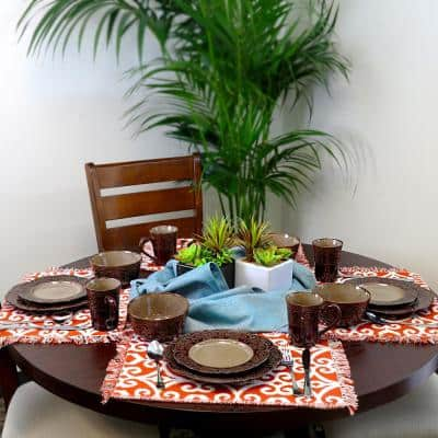 Salia 16-Piece Traditional Brown Stoneware Dinnerware Set (Service for 4)