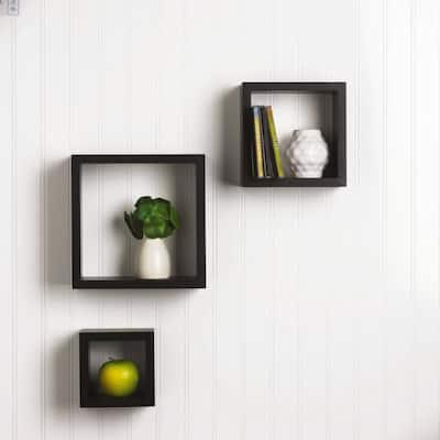 9 in. H x 9 in. W x 4 in. D Black Medium Density Fiberboard 3-Cube Storage Organizer