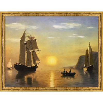 """""""A Sunset Calm in the Bay of Fundy with Java Bean"""" by William Bradford Framed Abstract Oil Painting 36.5 in. x 46.5 in."""