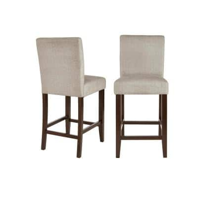 Banford Sable Brown Wood Upholstered Counter Stool w/Back and Riverbed Brown Seat (Set of 2) (17.51 in. W x 40.35 in.H)