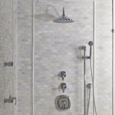1-Spray 10 in. Single Ceiling Mount Fixed Shower Head in Brushed Nickel