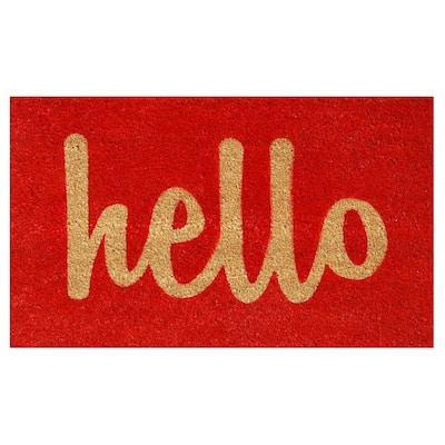 Hello Red/Natural Script 24 in. x 36 in. Door Mat