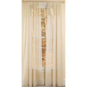 Ivory Border Rod Pocket Sheer Curtain - 52 in. W x 108 in. L