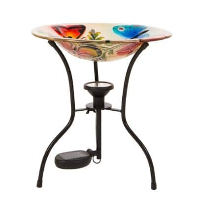 12 in. H Glass Birdbath with Metal Stand