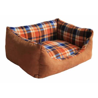 Rectangular Medium Light Brown Plaid Bed