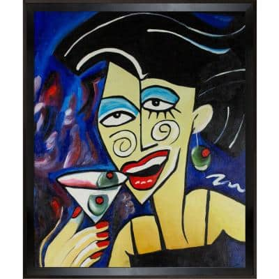 """""""Picasso by Nora, One More Drink with Studio Black Wood Angle Frame"""" by Nora Shepley Canvas Print"""