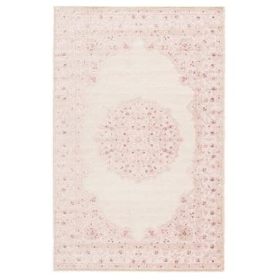 Machine Made Bright White 9 ft. 6 in. x 13 ft. 6 in. Medallion Area Rug