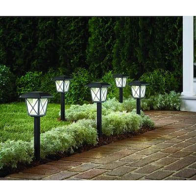16 Lumens Solar 2-Tone Black and Grey LED Landscape Pathway Light Set with Vintage Bulb (6-Pack)