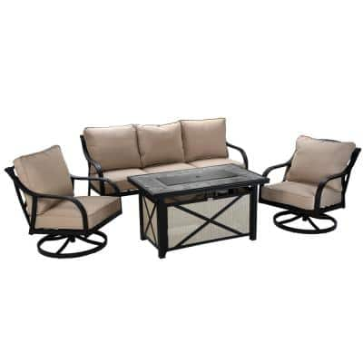 Powder-Coated Aluminum Frames 4-Piece All Weather Fire Pit Patio Set with Beige Seat Cushions