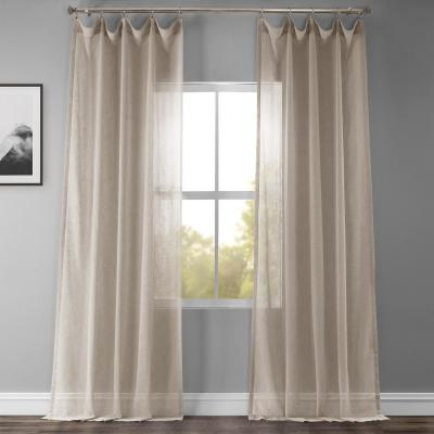 Paris Grey Solid Rod Pocket Sheer Curtain - 50 in. W x 120 in. L