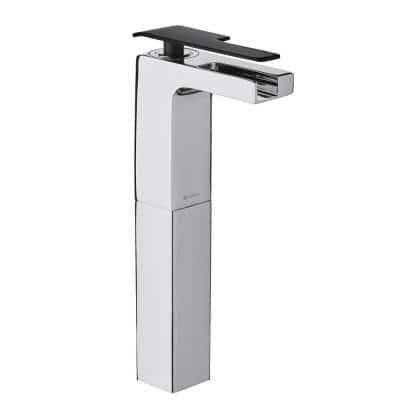 Femke Single-Handle Vessel Bathroom Faucet in Chrome and Matte Black