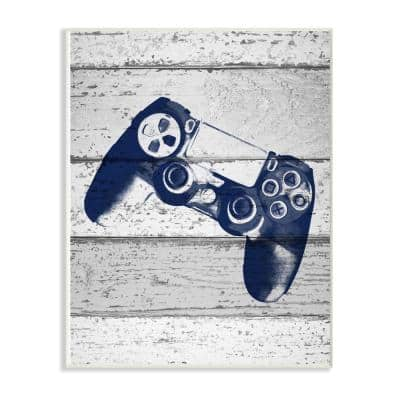 """12 in. x 18 in. """"Video Game Controller Blue Print on Planks"""" by Daphne Polselli Wood Wall Art"""